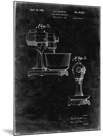 PP337-Black Grunge KitchenAid Mixer Patent Poster-Cole Borders-Mounted Giclee Print