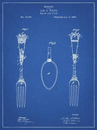 PP258-Blueprint Antique Spoon and Fork Patent Poster-Cole Borders-Framed Giclee Print