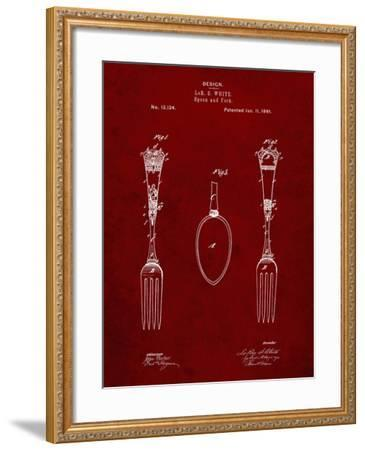 PP258-Burgundy Antique Spoon and Fork Patent Poster-Cole Borders-Framed Giclee Print