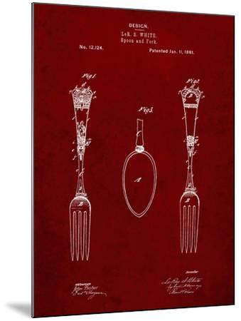 PP258-Burgundy Antique Spoon and Fork Patent Poster-Cole Borders-Mounted Giclee Print