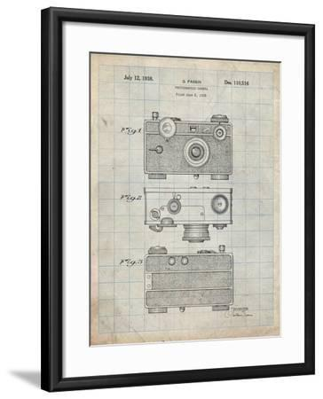 PP299-Antique Grid Parchment Argus C Camera Patent Poster-Cole Borders-Framed Giclee Print