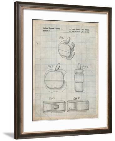PP260-Antique Grid Parchment Apple Logo Flip Phone Patent Poster-Cole Borders-Framed Giclee Print