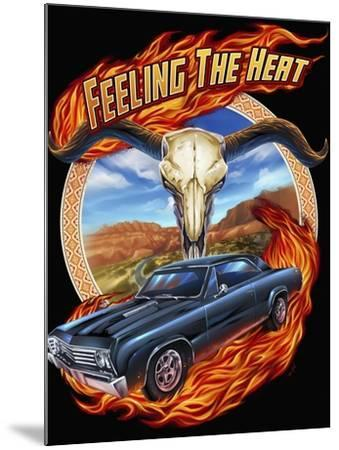 Hot Rod Steer Skull Illustration-FlyLand Designs-Mounted Giclee Print