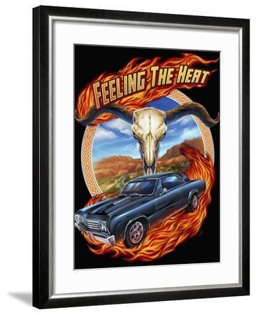 Hot Rod Steer Skull Illustration-FlyLand Designs-Framed Giclee Print