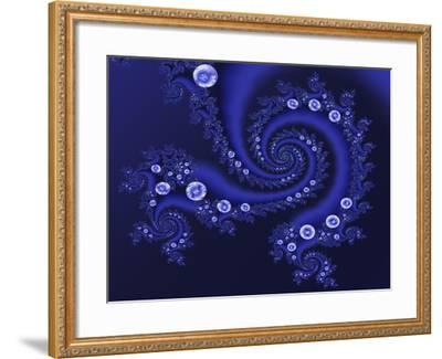 Marbleized Blue-Fractalicious-Framed Giclee Print