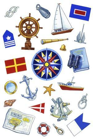 Nautical Theme Icons-Geraldine Aikman-Stretched Canvas Print