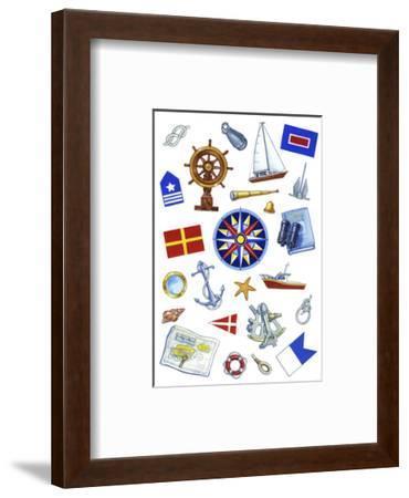 Nautical Theme Icons-Geraldine Aikman-Framed Giclee Print