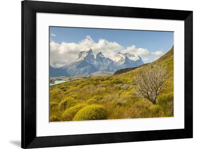 Chile, Patagonia. Lake Pehoe and The Horns mountains.-Jaynes Gallery-Framed Premium Photographic Print