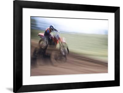 USA, California, Mammoth Lakes. Blur of motocross racer.-Jaynes Gallery-Framed Premium Photographic Print