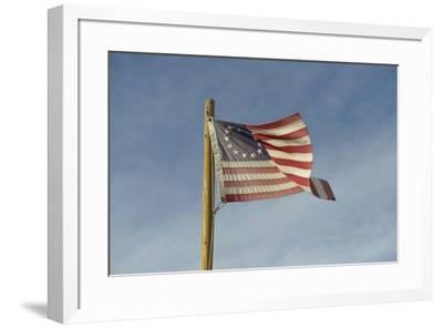 USA, Arizona. Apache Junction, Betsy Ross US flag, Apacheland Movie Ranch-Kevin Oke-Framed Premium Photographic Print