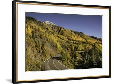Autumn, aspen trees and Million Dollar Highway, Crystal Lake, Ouray, Colorado-Adam Jones-Framed Premium Photographic Print