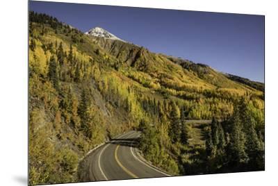 Autumn, aspen trees and Million Dollar Highway, Crystal Lake, Ouray, Colorado-Adam Jones-Mounted Premium Photographic Print