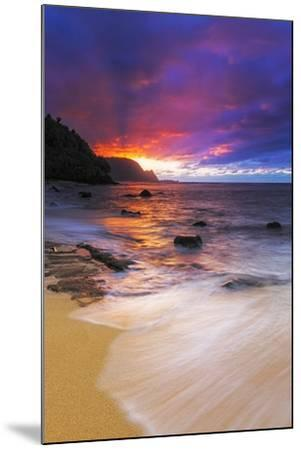 Sunset over the Na Pali Coast from Hideaways Beach, Princeville, Kauai, Hawaii, USA-Russ Bishop-Mounted Premium Photographic Print