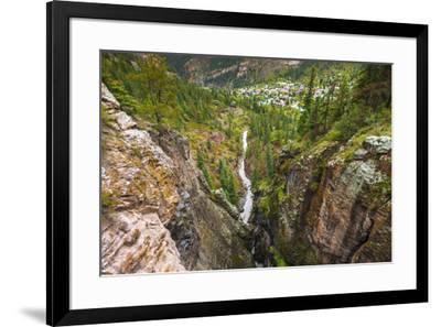 Box Canyon and the town of Ouray, Colorado, USA-Russ Bishop-Framed Premium Photographic Print