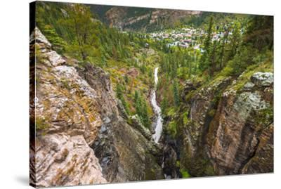 Box Canyon and the town of Ouray, Colorado, USA-Russ Bishop-Stretched Canvas Print