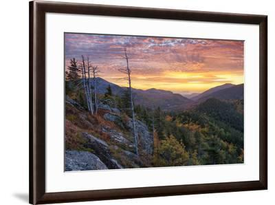 USA, New York State. Sunrise on Mount Baxter in autumn, Adirondack Mountains.-Chris Murray-Framed Premium Photographic Print