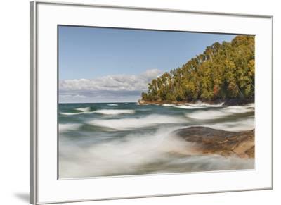 Waves on Lake Superior in fall, Pictured Rocks National Lakeshore, Michigan.-Adam Jones-Framed Premium Photographic Print