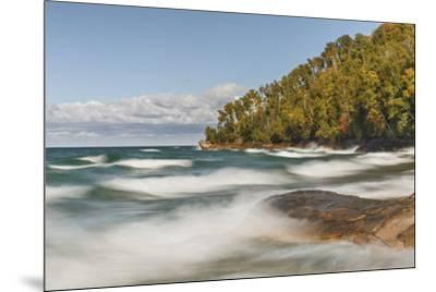 Waves on Lake Superior in fall, Pictured Rocks National Lakeshore, Michigan.-Adam Jones-Mounted Premium Photographic Print