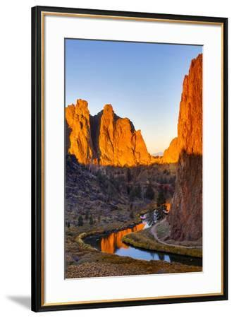 USA, Oregon, Bend. Smith Rock State Park, rock and reflections-Hollice Looney-Framed Premium Photographic Print