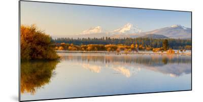 USA, Oregon, Bend. Black Butte Ranch, fall foliage and Cascade Mountains-Hollice Looney-Mounted Photographic Print