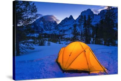 Winter camp at dusk under the Tetons, Grand Teton National Park, Wyoming, USA-Russ Bishop-Stretched Canvas Print