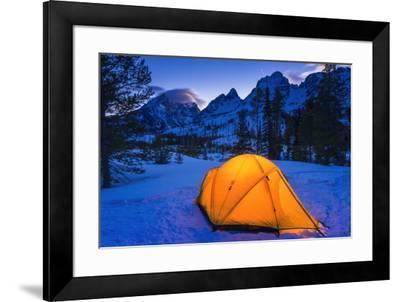 Winter camp at dusk under the Tetons, Grand Teton National Park, Wyoming, USA-Russ Bishop-Framed Premium Photographic Print