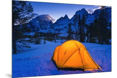 Winter camp at dusk under the Tetons, Grand Teton National Park, Wyoming, USA-Russ Bishop-Mounted Premium Photographic Print