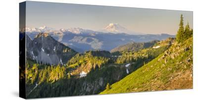 USA. Washington State. Panorama of Mt. Adams, Goat Rocks and Double Peak-Gary Luhm-Stretched Canvas Print