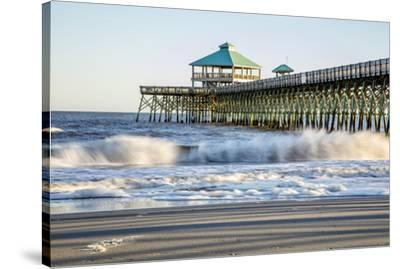 USA, North Carolina. Folly Beach, Surf at the Pier on the Beach-Hollice Looney-Stretched Canvas Print