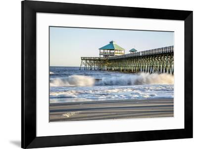 USA, North Carolina. Folly Beach, Surf at the Pier on the Beach-Hollice Looney-Framed Premium Photographic Print