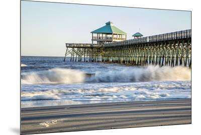 USA, North Carolina. Folly Beach, Surf at the Pier on the Beach-Hollice Looney-Mounted Premium Photographic Print