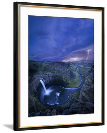 USA, Washington State. Palouse Falls at dusk with an approaching lightning storm-Gary Luhm-Framed Photographic Print