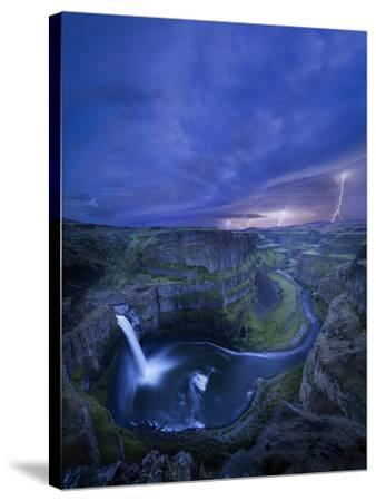 USA, Washington State. Palouse Falls at dusk with an approaching lightning storm-Gary Luhm-Stretched Canvas Print
