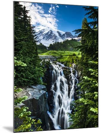 USA, Washington State, Mount Rainier National Park, Mount Rainier, waterfall-George Theodore-Mounted Photographic Print