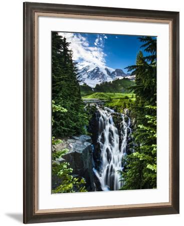 USA, Washington State, Mount Rainier National Park, Mount Rainier, waterfall-George Theodore-Framed Photographic Print