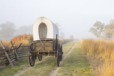 Wagon along the Oregon Trail at Whitman Mission, Walla Walla, Washington State-Brent Bergherm-Framed Premium Photographic Print