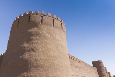 Iran, Rayen, Arg E Rayen, Ancient Adobe Citadel-Walter Bibikow-Framed Premium Photographic Print