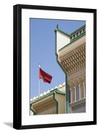 Morocco, Fes. Details of the Royal Palace gates with zelij tilework and cut plasterwork.-Brenda Tharp-Framed Premium Photographic Print