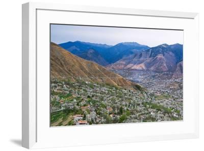 Tibetan village houses and farmland, Jinchuan, Sichuan Province, China-Keren Su-Framed Premium Photographic Print