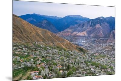 Tibetan village houses and farmland, Jinchuan, Sichuan Province, China-Keren Su-Mounted Premium Photographic Print