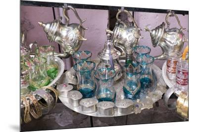 North Africa, Morocco, Marrakech. Traditional Moroccan mint tea glasses and tea pots.-Emily Wilson-Mounted Premium Photographic Print