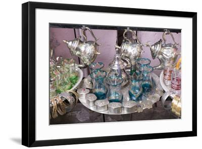 North Africa, Morocco, Marrakech. Traditional Moroccan mint tea glasses and tea pots.-Emily Wilson-Framed Premium Photographic Print