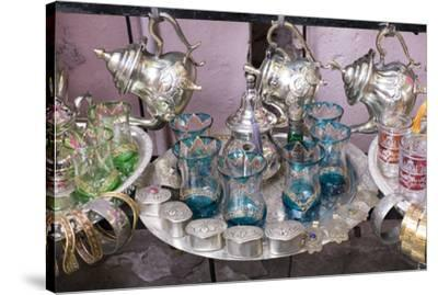 North Africa, Morocco, Marrakech. Traditional Moroccan mint tea glasses and tea pots.-Emily Wilson-Stretched Canvas Print