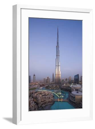UAE, Downtown Dubai. Cityscape with Burj Khalifa.-Walter Bibikow-Framed Premium Photographic Print