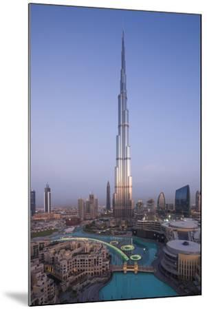 UAE, Downtown Dubai. Cityscape with Burj Khalifa.-Walter Bibikow-Mounted Premium Photographic Print