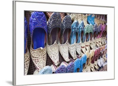 UAE, Dubai, Deira. Souvenir traditional slippers-Walter Bibikow-Framed Premium Photographic Print