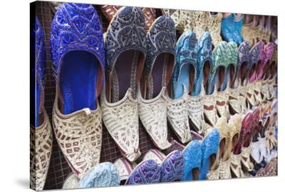 UAE, Dubai, Deira. Souvenir traditional slippers-Walter Bibikow-Stretched Canvas Print