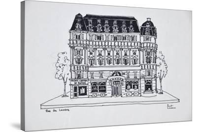 Typical Haussmann architecture on Rue du Louvre, Paris, France-Richard Lawrence-Stretched Canvas Print