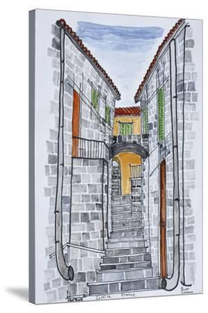 Narrow streets with 16th century F286buildings, Sartene, Corsica, France-Richard Lawrence-Stretched Canvas Print