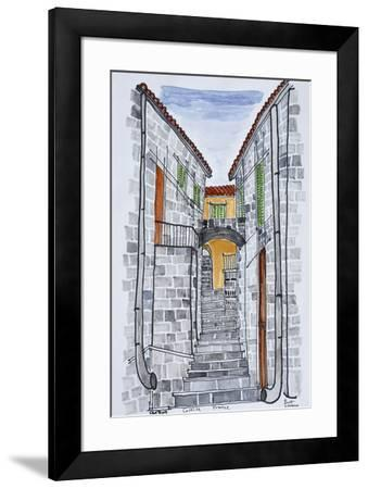 Narrow streets with 16th century F286buildings, Sartene, Corsica, France-Richard Lawrence-Framed Premium Photographic Print